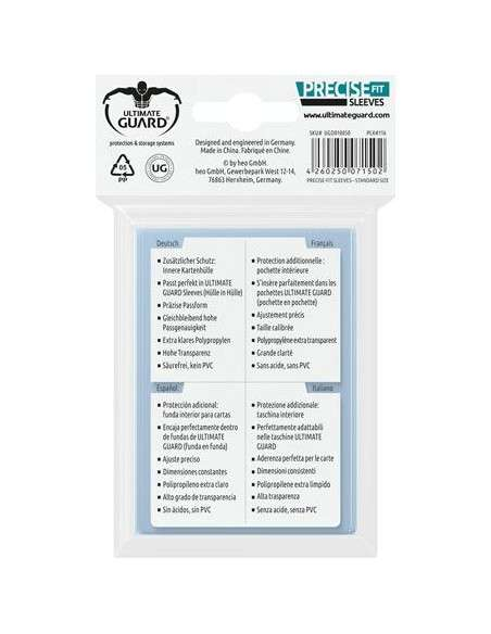 Ultimate Guard Precise-Fit Sleeves Standardgrösse Transparent (100)-img3